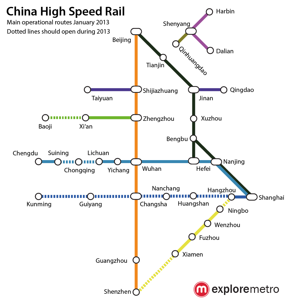China\'s High Speed Rail Network 2013, as a metro map! | the Explore blog