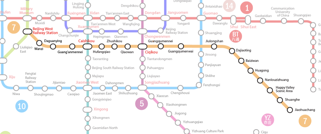 Beijing Subway Map Line 7