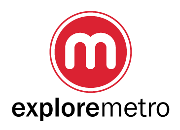 ExploreMetro logo, a white m in a red circle